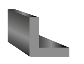 A 3D rendered L shaped rubber shape